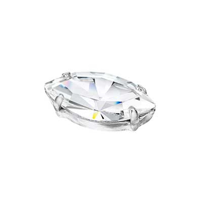 Preciosa Rosemontee Navette 8x4mm Crystal/Silver Setting image