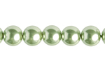 "GLASS PEARL ROUND 6mm (66pcs) 2x8"" STRUNG LIGHT OLIVINE image"