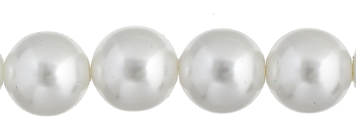 Czech Glass Pearls 8in Strand 8mm (22pcs) White image