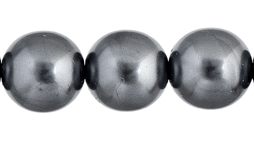 Czech Glass Pearls 8in Strand 10mm (18pcs) Gunmetal image