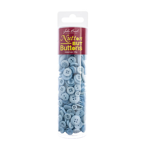 Nutton but Buttons 130g Tube Mixed Sizes Resin Light Blue image