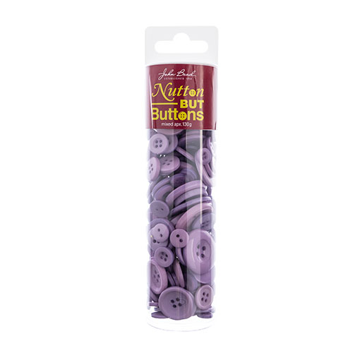 Nutton but Buttons 130g Tube Mixed Sizes Resin Light Purple image