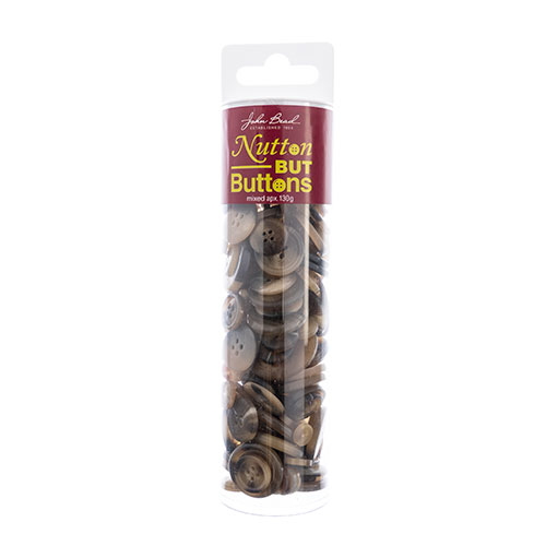 Nutton but Buttons 130g Tube Mixed Sizes Resin Brown image
