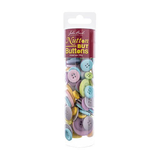 Nutton but Buttons 130g Tube Mixed Sizes Resin Mixed Pastel image