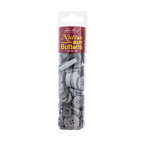 Nutton but Buttons 130g Tube Mixed Sizes Resin Grey image