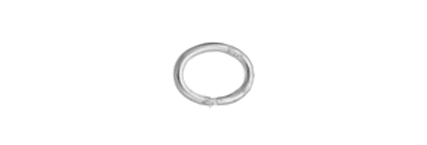JUMP RING OVAL 3x4mmOD 21GAUGE PLATED SILVER Nickel Free image