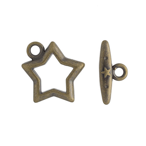 TOGGLE FANCY STAR 15mm ANTIQUE GOLD Nickel Free image