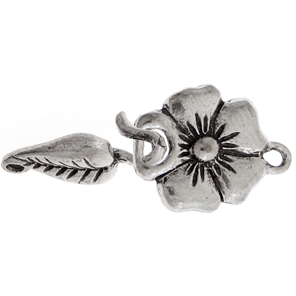 FLOWER & LEAF CLASP 32x15mm ANTIQUE SILVER LF/NF image