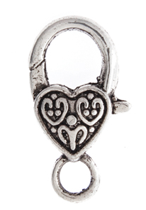 LOBSTER CLASP 26mm HEART PATTERN ANTIQUE SILVER L/F N/F image