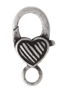 LOBSTER CLASP 27mm HEART with LINES ANTIQUE SILVER L/F N/F image