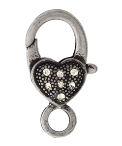 LOBSTER CLASP 27mm HEART with RHINESTONE ANT. SILVER L/F N/F image