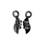 Crimp Ends Leaf 3mm Hole Black image