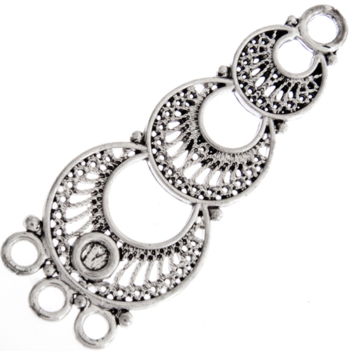 CHANDELIER EARRING PART 3 RING LT. ANT SILVER N/F L/F 48x18mm image