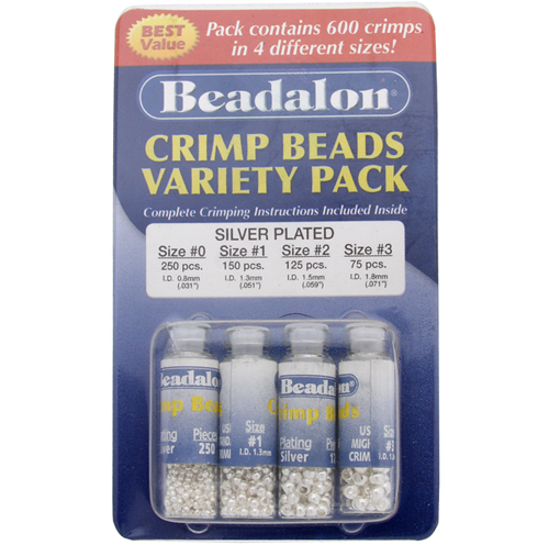 BEADALON CRIMP BEAD VARIETY PACK #0-3 PLATED SILVER 600 PC image