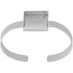 Bezel Handmade Bracelet Cuff Square 21x4mm Silver Plated image