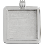Bezel Handmade Pendant Square 32.5x6.5mm Silver Plated image