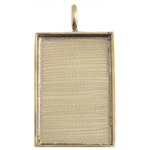 Bezel Handmade Pendant Rectangle 36x23x2mm Brass image