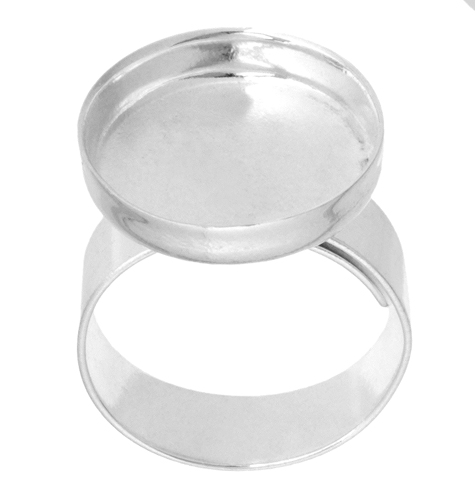 Bezel Stamped Ring Round 16.9x3mm Silver image