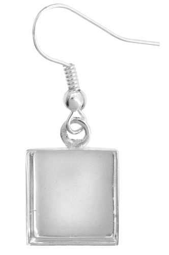 Bezel Stamped Earring Square 13x3.6mm Silver image