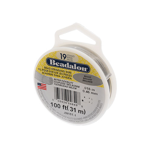 Beadalon .018/19 Stringing Wire 100ft Bright image