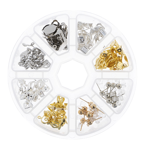 Findings - Assortment Round 8 Slots Earring Mix 80pcs image