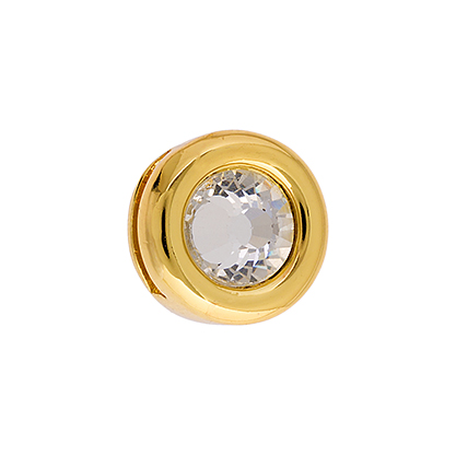 Slider - Round w/Crystal (2pcs) 13mm Gold LF/NF image
