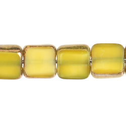 F/P 6x6mm SQUARE YELLOW SILK LAMP/WINDOW BEADS image