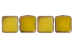 F/P 8x8mm SQUARE YELLOW SILK LAMP/WINDOW BEADS image