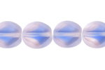 F/P 9/8mm PINK-BLUE STRIPED STRUNG   OVAL DIAM. FACE BEAD image
