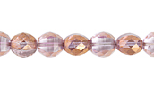 F/P 6mm TWO WAY CUT BEAD STR. CRYSTAL/GOLD LUSTER LT.AMETHYS image