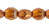 F/P 10mm ROUND TWO WAY CUT STRUNG TOPAZ/GOLD LUSTER image