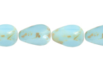 F/P 12x8mm OP.TURQUOISE/MARBLE COATED PEAR SHAPE BEAD image