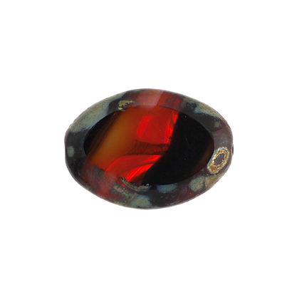 F/P 20x14mm Cut Flat Oval Red Black Marble Edge image