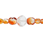 F/P Beads Mix of 4/6mmRd.Dk. Apricot Full Coating & 8mm P/B Fancy Tr.Cry image