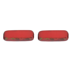 F/P 15x5mm RECTANGLE STRUNG RED/MARBLE SIDES image