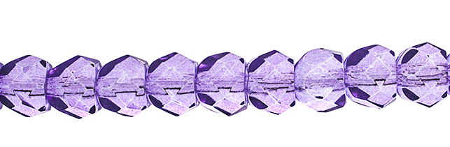 Czech Fire Polish Hill Bead 8mm Transparent Crystal/Dark Purple Solgel image