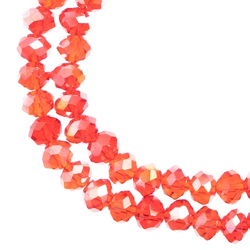 Crystal Lane Rondelle 2Strand 7in (apx78pcs) 4x6mm Transparent Red AB image