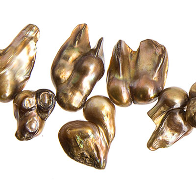 "FRESHWATER PEARL MUSSEL SHAPE 8-26mm 8"" STRAND GOLD image"