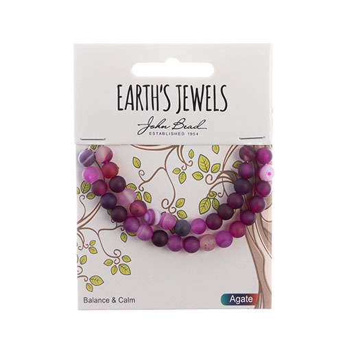 Earth's Jewels Round Matte 6mm Striped Agate Pink image