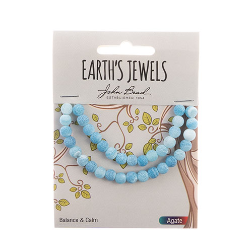 Earth's Jewels Round Matte 6mm Striped Agate Blue image