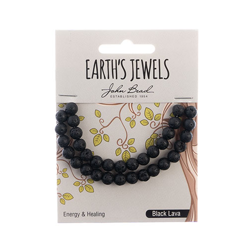 Earth's Jewels Round Matte 6mm Black Lava Natural image