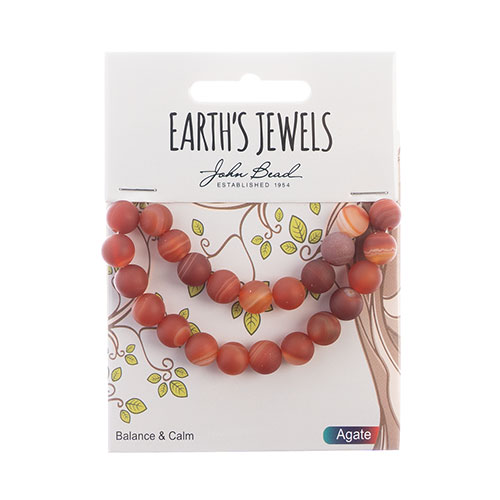 Earth's Jewels Round Matte 8mm Striped Agate Red image