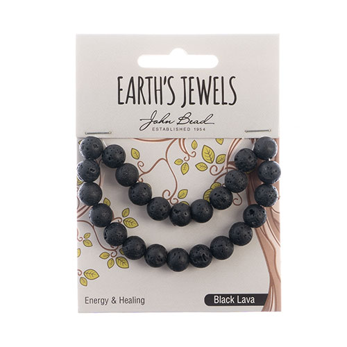 Earth's Jewels Round Matte 8mm Black Lava Natural image
