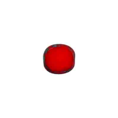 GLASS CUT BEAD FLAT OVAL10/9MM STRUNG-OP.RED image