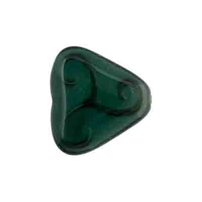 Glass Bead Triangle 17x18mm Opaque Dark Green Silk image