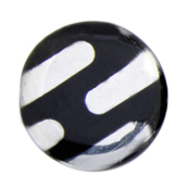 Glass Peacock Metallic Circle 28mm Black Labrador Stripe image