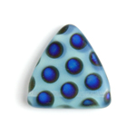 Glass Peacock Beads Triangles 17mm Blue Opal Azuro Matte image