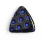 Glass Peacock Beads Triangles 17mm Dark Blue Azuro image