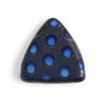 Glass Peacock Beads Triangles 17mm Dark Blue Azuro Matte image