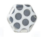 Glass Peacock Beads Hexagon 17mm. White Labrador image